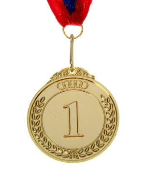 Медаль призовая d=5 см «1 место», цвет золото с лентой