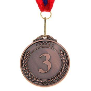 Медаль призовая d=5 см «3 место», цвет серебро с лентой
