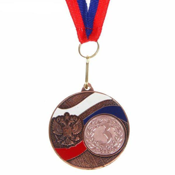 Медаль призовая 024 диам 5 см. Цвет бронза с лентой