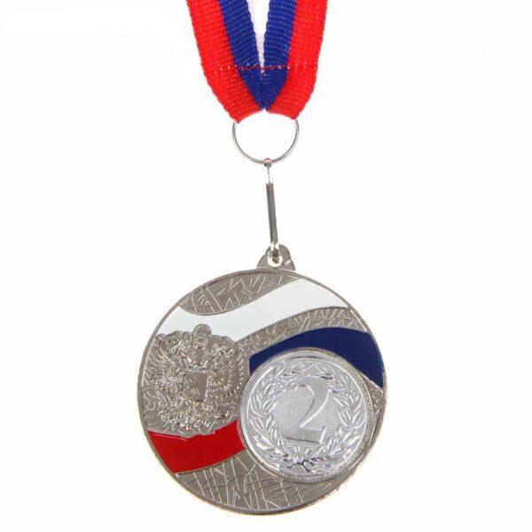 Медаль призовая 024 диам 5 см. Цвет серебро с лентой
