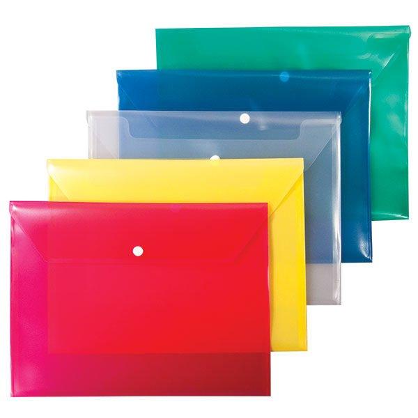 Пластиковый конверт РЕГИСТР А4, на кнопке, прозрачный 180 мкм, ассорти