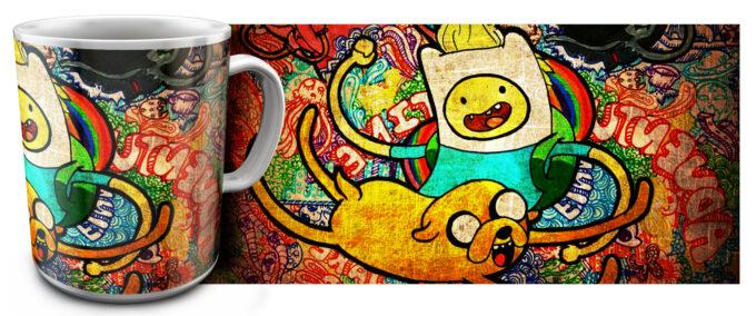 kr 4.13 680x284 - Кружка белая - Время приключений , Adventure Time Джейк и Финн вместе