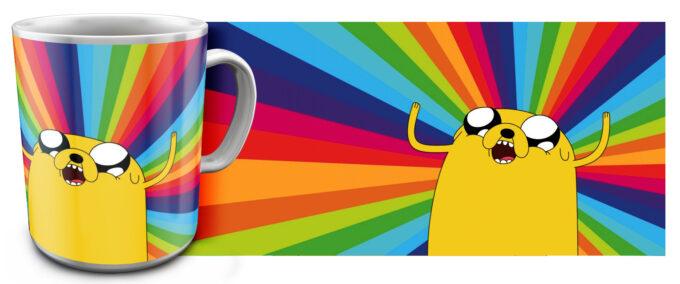 kr 4.3 680x284 - Кружка белая - Adventure Time, Джейк радуется