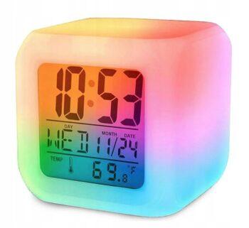 budzik zegarek termometr swiecacy kameleon led 350x321 - Часы будильник LED